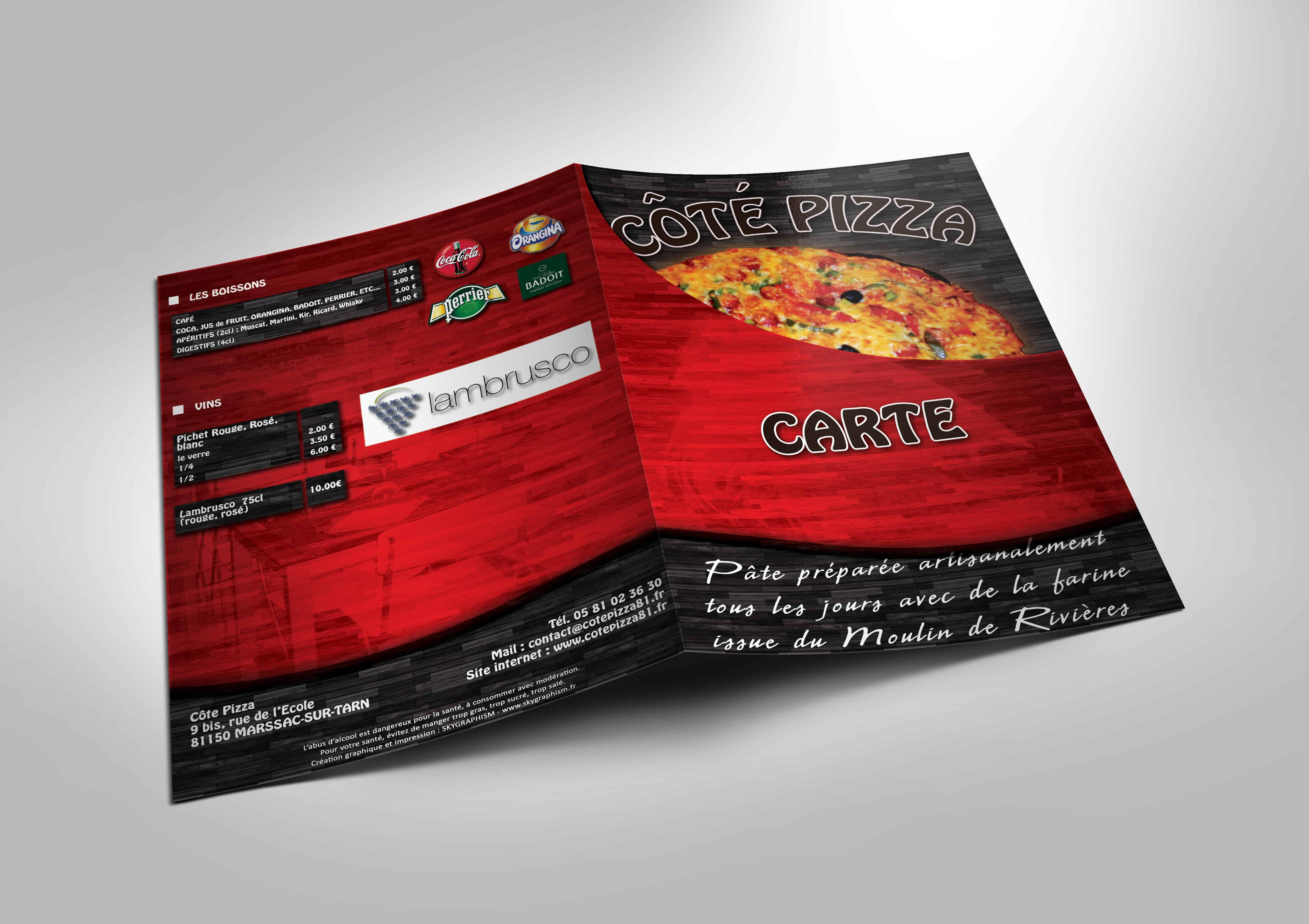 Menu Plastifié réalisé pour la pizzéria Côté Pizza (Marssac-sur-Tarn 81)