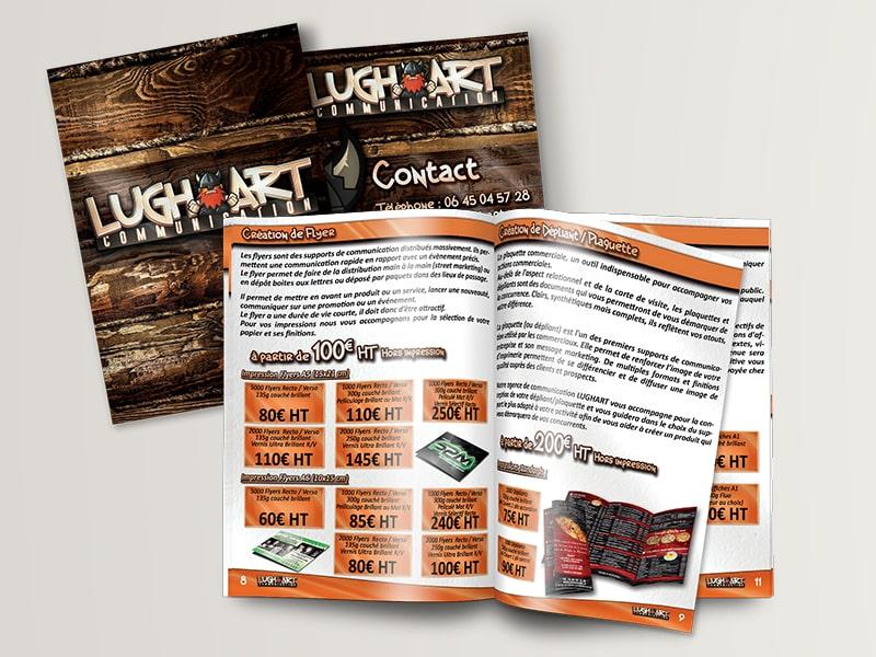 Brochure LUGHART contenant une grande partie de prestations et tarifs!  Impression couvertures 250g/m² couché brillant pelliculage  brillant recto, pages intérieures 135g/m² couché brillant