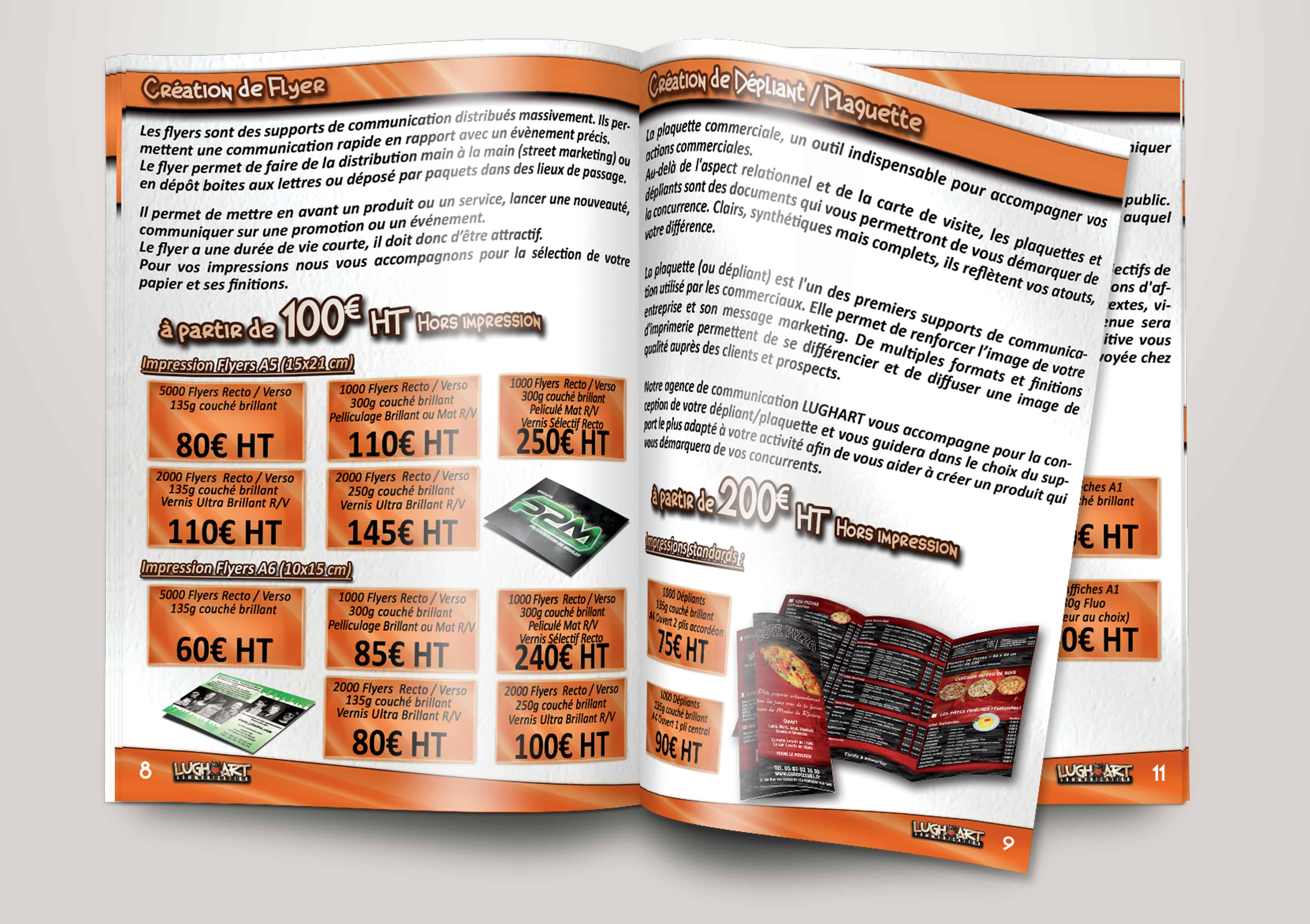 Brochure LUGHART, impression A4 ouvert, pages de couverture 250g couché brillant avec pelliculage brillant recto, pages intérieure 125g couché brillant