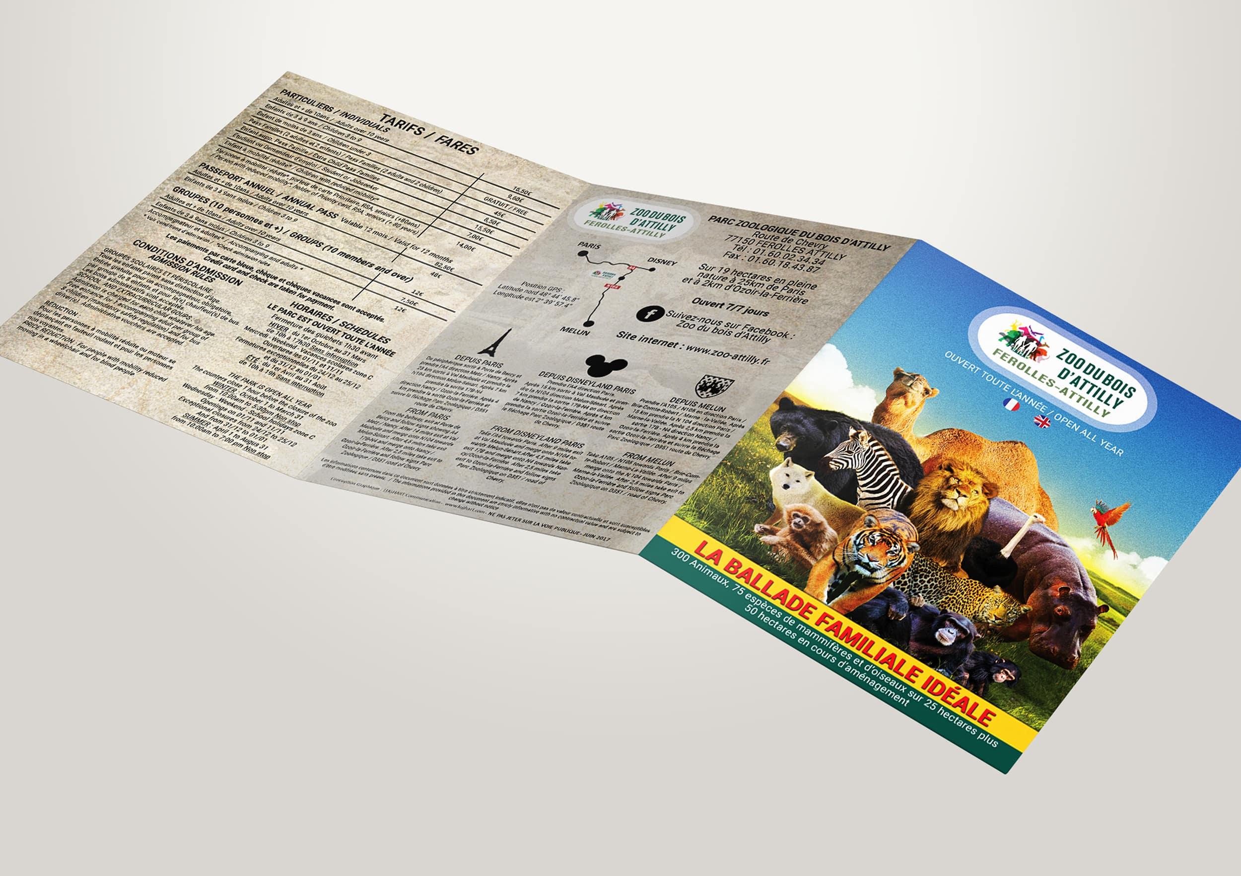 Création graphique dépliant A5 fermé réalisé pour le Zoo du Bois d'Attilly