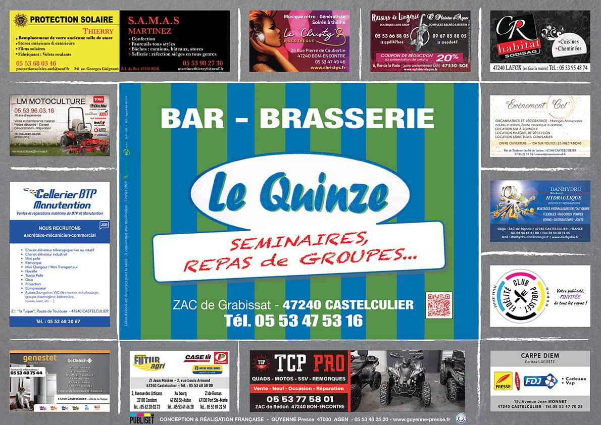 Set de table publicitaire GUYENNE PRESSE PUBLISET